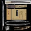 日本美術刀剣保存協会で冬広(冬廣)と保存刀剣鑑定された刀です。 初代冬廣は相州二代廣次の子と伝えられています。 寛正頃(1460年頃)相模国から若狭国(若州小浜)に移住した冬廣家は 、室町時代後期に始まり、相州伝に備前伝を採り入れ、 時の需要に応じた刀を製作し、江戸末期まで代々続く若狭の名門です。 新刀期になりますと、冬廣家は他国に移住し、 因州鳥取、芸州、雲州、若狭小浜住、紀州住、讃州、備前国住と国を切ったものがある。